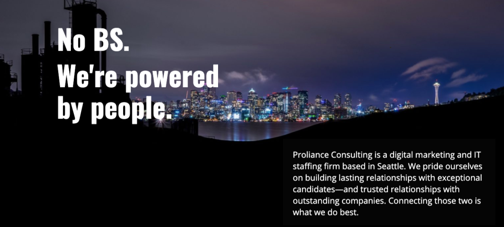Screenshot from Proliance Consulting website